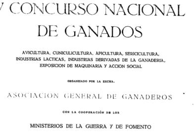 Avance de Programa del V Concurso Nacional de Ganados de 1926.
